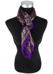 feines Halstuch in violett grau dunkelbraun braun gemustert - Gr 100 x 100 cm