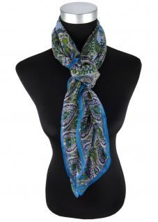 feines Halstuch in blau grün petrol grau Paisley gemustert - Gr 100 x 100 cm