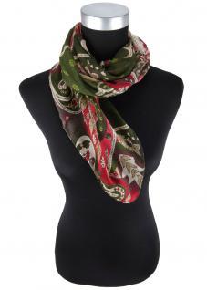 Halstuch in rosa dunkelgrün beige rot grau Paisley gemustert - Gr 100 x 100 cm