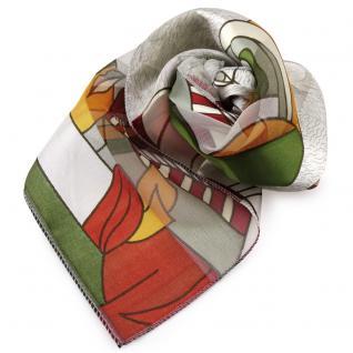 Feines Damen Satin Nickituch grau silber rot gemustert - Tuch Halstuch Schal