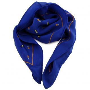 Damen Nickituch in Seide blau orange gelb schwarz 53 x 53 - Tuch Halstuch Schal