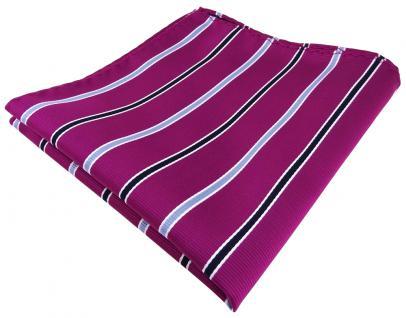schönes TigerTie Einstecktuch in magenta violett blau weiss gestreift