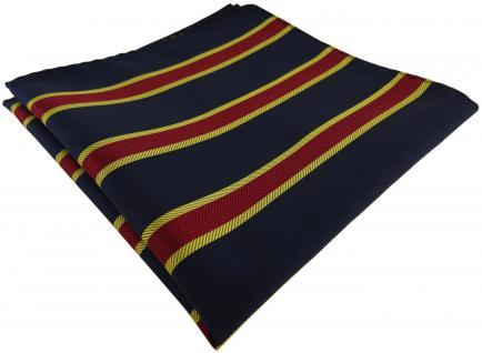 TigerTie Einstecktuch dunkelblau schwarzblau rot gold gestreift - Gr. 30 x 30 cm