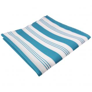 schönes Einstecktuch in türkis wasserblau weiß silber gestreift - 100% Polyester