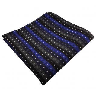 schönes Einstecktuch in blau schwarz anthrazit silber gestreift - 100% Polyester