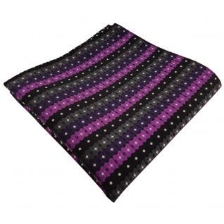 schönes Einstecktuch in lila schwarz anthrazit silber gestreift - 100% Polyester