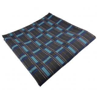 schönes Einstecktuch in türkis anthrazit silber schwarz kariert - Tuch Polyester