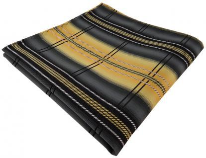 TigerTie Einstecktuch in zitronengelb gold anthrazit silber schwarz gestreift