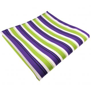 schönes Einstecktuch in lila grün weiss schwarz gestreift - Tuch 100% Polyester
