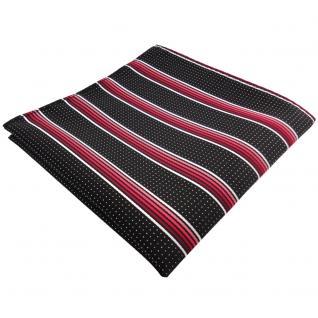 schönes Einstecktuch in rot silberweiss schwarz gestreift - Tuch 100% Polyester