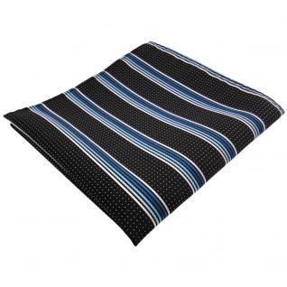 schönes Einstecktuch türkis blau silberweiss schwarz gestreift - Tuch Polyester