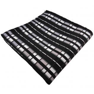 schönes Einstecktuch in schwarz anthrazit silber grau gestreift - Tuch Polyester