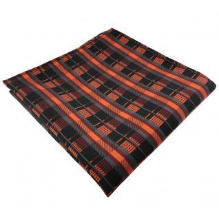 schönes Einstecktuch orange kupfer anthrazit schwarz gestreift - Tuch Polyester