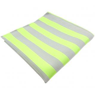 schönes Einstecktuch in hellgrün grausilber gestreift - Tuch 100% Polyester