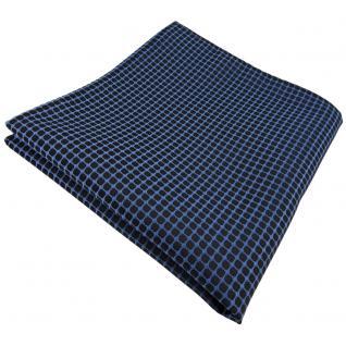 schönes Einstecktuch in blau türkis schwarz gemustert - Tuch 100% Polyester