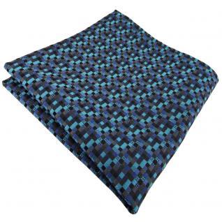 schönes Einstecktuch in türkis blau schwarz anthrazit grau gemustert