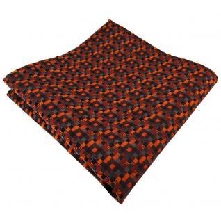 schönes Einstecktuch in orange rotorange schwarz anthrazit grau gemustert