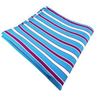 Einstecktuch türkis türkisblau weiß magenta lila gestreift - Tuch 100% Polyester