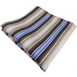 schönes Einstecktuch in braun beigebraun blau creme gestreift - Tuch Polyester