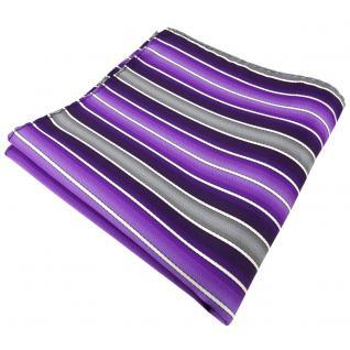 schönes Einstecktuch lila dunkellila grau creme gestreift - Tuch 100% Polyester - Vorschau