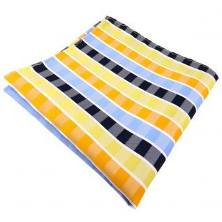 Einstecktuch in gelb orange blau hellblau weiß gestreift - Tuch 100% Polyester