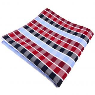 Einstecktuch in rot rubinrot blau hellblau weiß gestreift - Tuch 100% Polyester