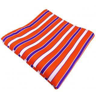 Einstecktuch orange verkehrsorange lila weiß gestreift - Tuch 100% Polyester - Vorschau