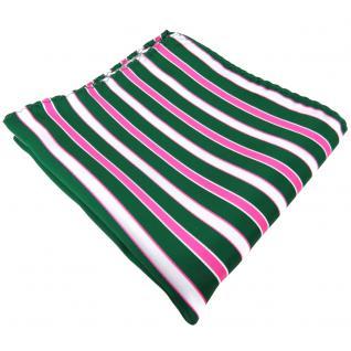 schönes Einstecktuch grün dunkelgrün pink weiß gestreift - Tuch 100% Polyester