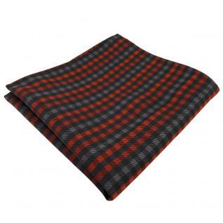 Elegantes Einstecktuch in orange anthrazit schwarz kariert - Tuch Polyester
