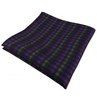 Schönes Einstecktuch in lila violett anthrazit schwarz kariert - Tuch Polyester