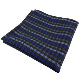 Schönes Einstecktuch in blau anthrazit schwarz kariert - Tuch Polyester