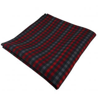 Elegantes Einstecktuch in rot anthrazit schwarz kariert - Tuch Polyester