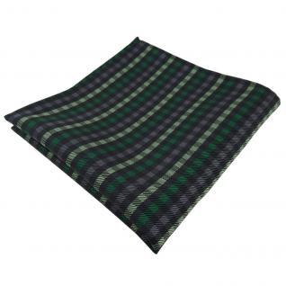 Elegantes Einstecktuch in grün anthrazit schwarz kariert - Tuch Polyester