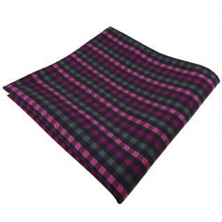 Elegantes Einstecktuch in magenta anthrazit schwarz kariert - Tuch Polyester