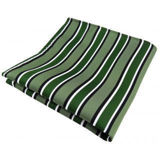 Elegantes Einstecktuch in grün schwarz weiß gestreift - Tuch Polyester