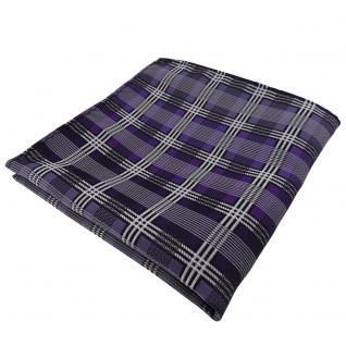 Elegantes Einstecktuch lila silber grau schwarz kariert - Tuch Polyester