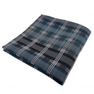Elegantes Einstecktuch türkis silber grau schwarz kariert - Tuch Polyester
