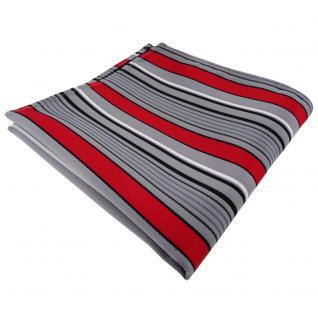 schönes Einstecktuch rot grau silber schwarz gestreift - Tuch Polyester