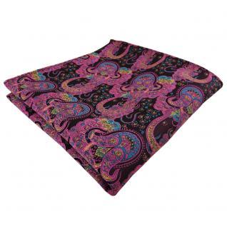 TigerTie Einstecktuch in lila rosa türkis Paisley - Tuch 100% Polyester