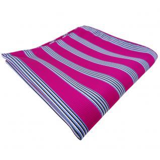 schönes Einstecktuch pink blau schwarz weiß gestreift - Tuch Polyester