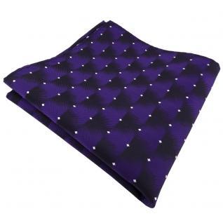 schönes Einstecktuch in lila violett silber gepunktet - Tuch 100% Polyester
