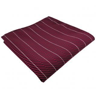 schönes Einstecktuch rot schwarz silber gestreift - Tuch Polyester