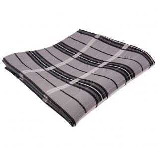 Designer Seideneinstecktuch grau anthrazit silber kariert - Tuch Seide Silk