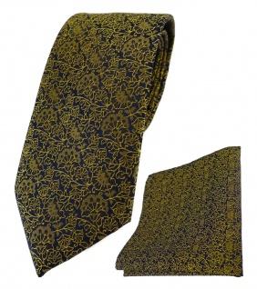 TigerTie Designer Krawatte + Einstecktuch in gelbgold schwarz florales Muster
