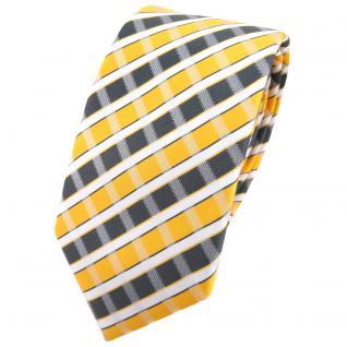 Schmale TigerTie Krawatte gelb grau silber weiss gestreift - Schlips Binder