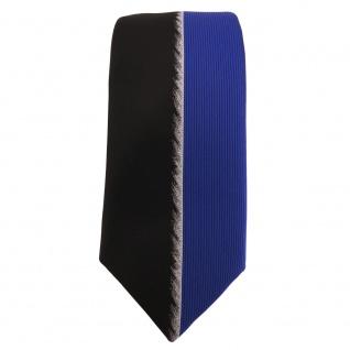 Schmale Designer Krawatte blau schwarz silber gestreift - Schlips Binder Tie - Vorschau 2