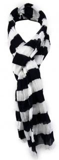 TigerTie Schal in schwarz weiß gestreift mit Fransen - Gr. 180 x 50 cm - Vorschau