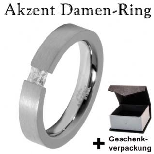 Akzent Edelstahl Damen Ring mit Stein + Geschenkbox Damenring Größe 56