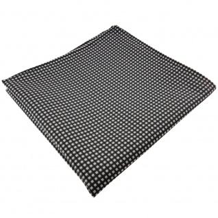 TigerTie Einstecktuch in anthrazit silber gepunktet - Tuch 100% Polyester