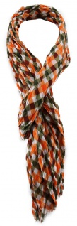 TigerTie Schal orange oliv bordeaux weiß kariert mit Fransen - Gr. 180 x 50 cm